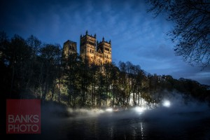Fogscape on the banks of the River Wear, Durham City. Part of the Lumiere event