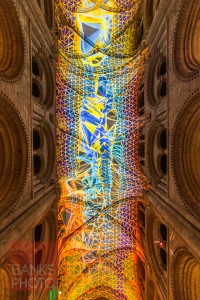 The ceiling of Durham Cathedral lit up for Lumiere. Picture: TOM BANKS