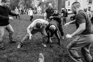 Image ©Licensed to i-Images Picture Agency. 09/02/2016. Sedgefield, County Durham, United Kingdom. People take part in the annual Sedgefield Shrove Tuesday Ball Game. An Easter tradition where a small leather ball is fought over for three hours. Picture by Tom Banks / i-Images