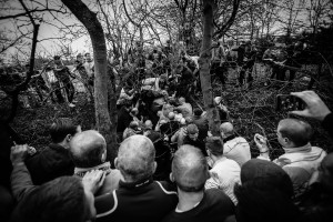 Image ©Licensed to i-Images Picture Agency. 09/02/2016. Sedgefield, County Durham, United Kingdom. People take part in the annual Sedgefield Shrove Tuesday Ball Game. Picture by Tom Banks / i-Images