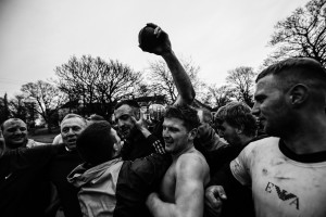 Image ©Licensed to i-Images Picture Agency. 09/02/2016. Sedgefield, County Durham, United Kingdom. People take part in the annual Sedgefield Shrove Tuesday Ball Game. Pictured is the winner - Daz Clemmet. Picture by Tom Banks / i-Images